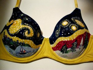 """Starry Bra-rry New England Night"", created by Jacqui Hawk for The Painted Bra Art Project."